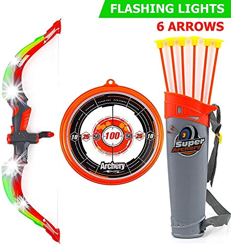Toysery Bow and Arrow for Kids with LED Flash Lights - Archery Bow with 6 Suction Cups Arrows, Target, and Quiver - Practice Outdoor Toys for Children Above 6 Years ()