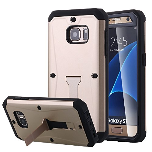Galaxy S7 Case, Pandawell™ [Built-in Screen Protector ] [Kickstand Feature] Hybrid Dual Layer Armor Defender Full Body Protective Case Cover for Samsung Galaxy S7 - Gold - Kickstand Screen