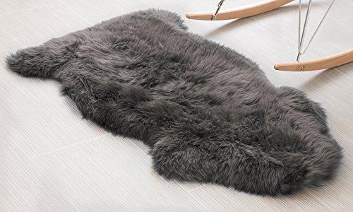 Genuine Sheepskin Rug Soft Fur Single Pelt Throw Rug for Sofa, Bed Or Floor Decor, (Gray) (Throws Single Bed)