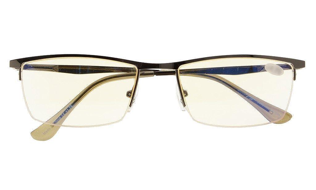 UV Protection, Anti Blue Rays, Reduce Eyestrain, Half-rim Computer Reading Glasses Amber Tinted Lenses) +0.5 LH-CG1614-Gunmetal-50