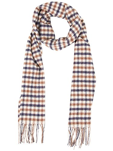 Aquascutum Men's Lambswool CC Checked Scarf, Brown, One Size by Aquascutum