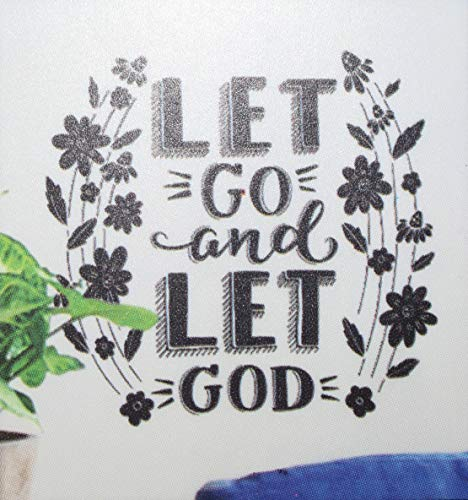 Living Room Wall Sticker | Let Go and Let God | Inspirational Quote | DIY Spiritual Self Sticking Vinyl | Creative Decal | Bedroom Peel and Stick