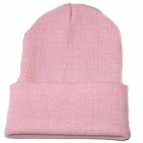 Clearance! Challyhope Beanie for Women and Men - by Unisex Cuffed Plain Skull Toboggan Knit Hat and Cap(Pink, -