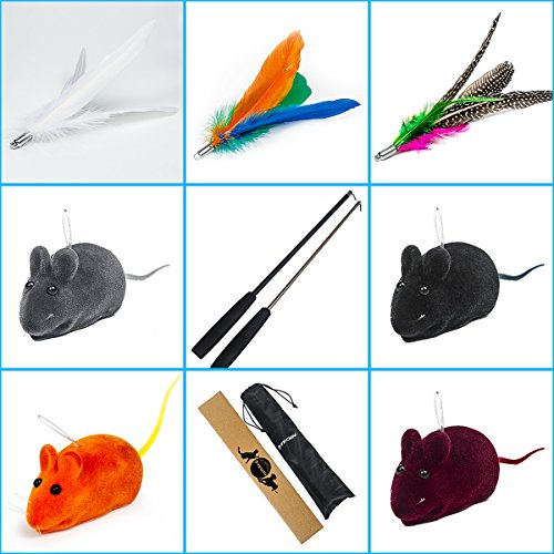 TEQIN Cat Teaser Wand Toys Interactive Feather Catcher Toy Pole Sets with Furry Feather Soft Mouse Rat Refills Replacements for Exercising Kitten Kitty