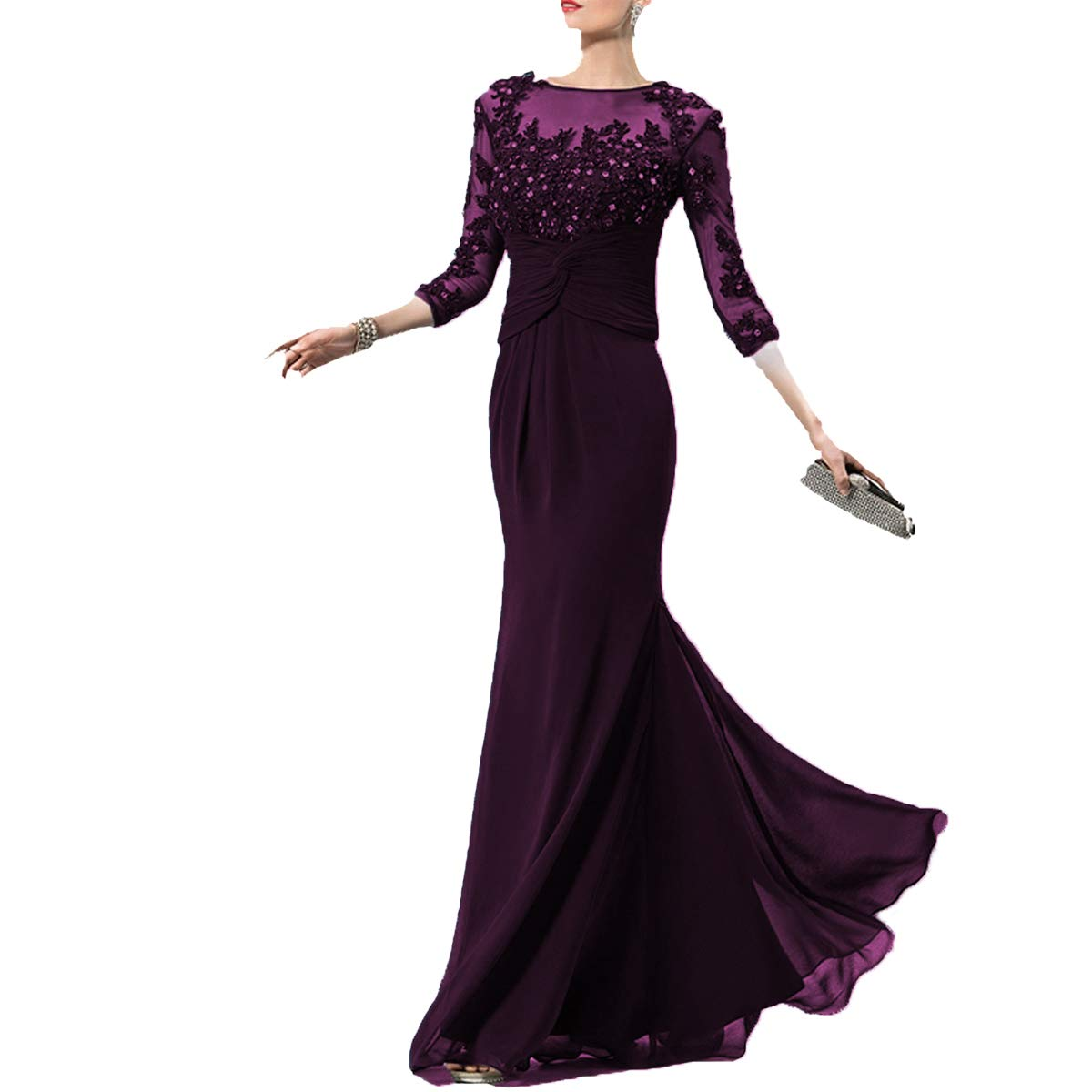 Dark Purple SDRESS Women's Rhinestones Appliques Illusion 3 4 Sleeve Scoop Neck Mother Dress