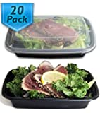 [20 Pack] 24 Oz. Meal Prep Containers BPA Free Plastic Reusable Food Storage Container Microwave & Dishwasher Safe w/ Airtight Lid For Portion Control & Bento Box Lunch Box