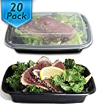 : [20 Pack] 24 Oz. Meal Prep Containers BPA Free Plastic Reusable Food Storage Container Microwave & Dishwasher Safe w/ Airtight Lid For Portion Control & Bento Box Lunch Box