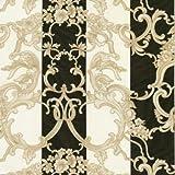 16071RC - Roberto Cavalli 5 Floral Striped Black Cream Wallpaper