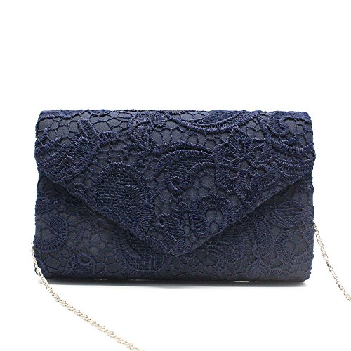 Gyeitee Women's Elegant Floral Lace Envelope Clutch Evening Prom Handbag Purse Ladies Satin Lace Envelope Clutch Bag (Navy Blue)