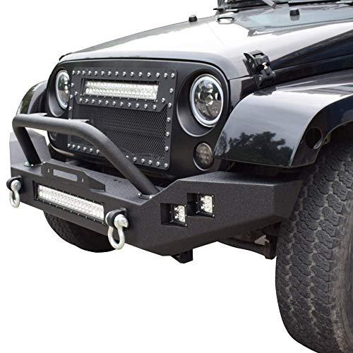 Quakeworld Front Bumper w/Winch Plate and D-rings & 1 x 120W LED Light Bar & 4 x 16W Led Lights | Fits Jeep Wrangler JK 2007-2018 Rock Crawler Bumper Black