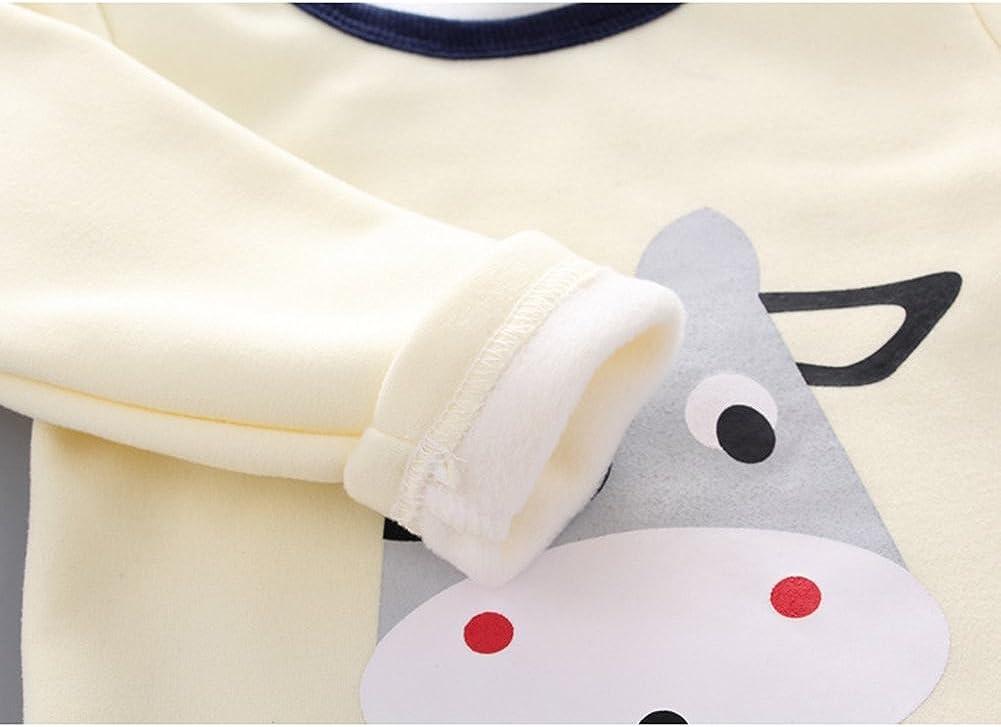 2 Pezzi Cotone Manica Lunga in Inverno Caldo Indumenti da Notte per Bambini 0-4 Anni Meedot Set di Pigiami per Bambino