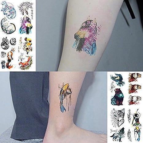 Oottati 8 Hojas Tatuajes Temporales 3D Mano Cuello Mano Pintura ...
