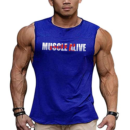 Mens Essential Muscle Sleeveless T-Shirt with Crew Neck for Bodybuilding Tank Tops Shirts Cotton Color Blue Size - T-shirt Mens Alive