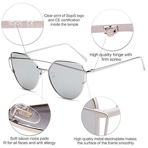 SOJOS Plateada Marca De Moda Sol C4 Gafas Lentes Gato De Mujer Estilo De Espejo Para Plateada Metal Lentes Con SJ1001 Ojo De Planos Frente ArRwAqCca