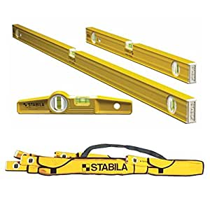 "Stabila 3 Level Pro-Set 48"", 24"" and Die-cast Torpedo Levels w/ 5 Pocket Case"
