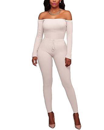 Femme Epaule Nue Combinaisons Pantalon Casual Manches Longues Romper  Bodysuit Jumpsuit Plage Blanc S 12772b2c99db