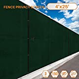 Sunshades Depot Privacy fence screen 25'x4' Green Heavy Duty Commercial Windscreen Residential Fence Netting Fence Cover 150 GSM 88% Privacy Blockage with excellent Airflow 3 Years Warranty