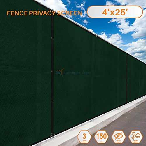 - Sunshades Depot Privacy fence screen 25'x4' Green Heavy Duty Commercial Windscreen Residential Fence Netting Fence Cover 150 GSM 88% Privacy Blockage with excellent Airflow 3 Years Warranty