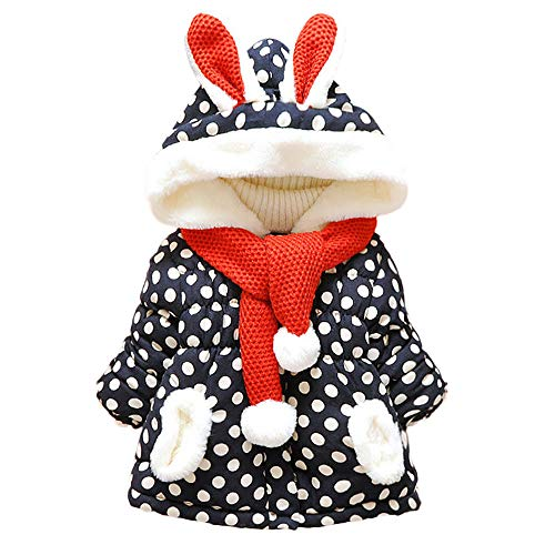 Baby Phat Coats For Girls (Franterd Hooded Coat, Little Boys&Girls Cute Rabbit Ears Hooded Polka Dot Thick Warm Jackets Ball Scarf)
