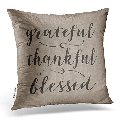 Emvency Throw Pillow Cover Grateful Thankful Blessed Rustic Script Damask Decorative Pillow Case Vintage Home Decor Square 20 x 20 Inch Cushion Pillowcase