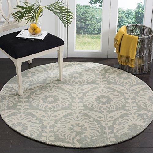 Safavieh Bella Collection BEL125B Handmade Light Grey and Ivory Premium Wool Round Area Rug (5' Diameter)