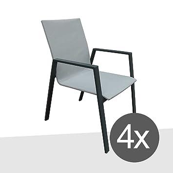 Stapelstuhl Garten 4er Set CRES Design Gartensessel Stapelbar Aluminium/Textil  Grau/Silber