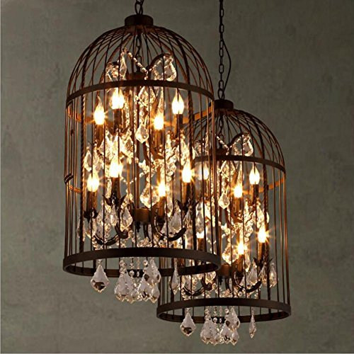 WEIWEI Wei-d American Village Retro Creative Personality Birdcage Chandelier Nordic Bar Living Room Restaurant Antique Iron Crystal Pendant Light, Black (Antiques Iron Chandelier)