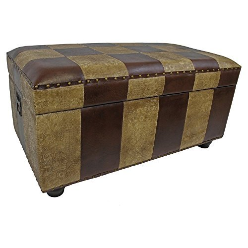 International Caravan YWLF-2186-MX-IC Furniture Piece Faux Leather Bench Trunk w/Lid, 0
