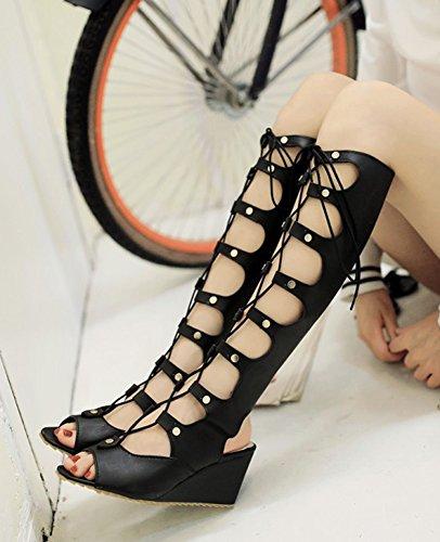 Cosplay Fresco De Las Mujeres De Aisun Peep Toe Gilly Tie Sandalias Altas De Gladiador Rodilla De La Cuña Zapatos De Cuña Negro