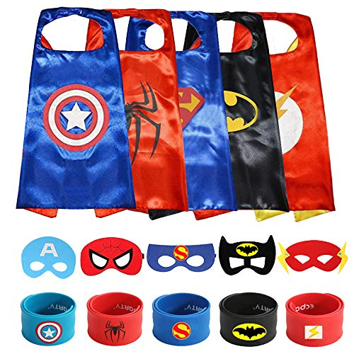 Super Hero Cape (Ecparty Superheros Capes & Masks with Superheros Logo Dress up for Kids (Old 5)
