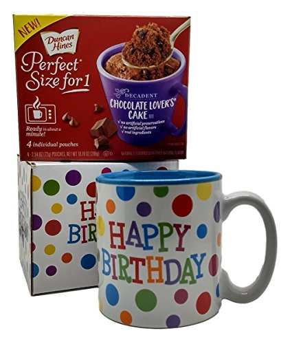 Happy Birthday Mug In Gift Box with 4 Mug Cake Mix Pouches Bundle (Chocolate Lover)