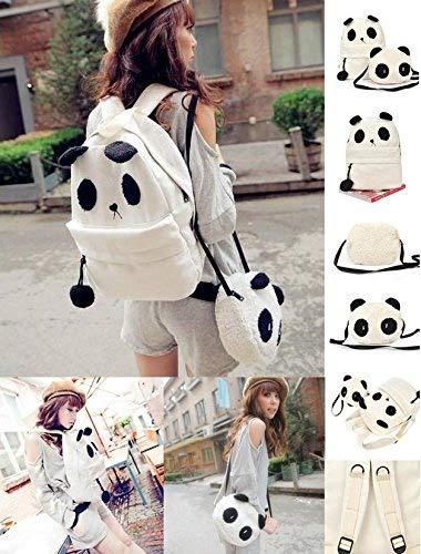 moahhally Panda Backpack Kawaii Cute White Black Bag Purse Animal Fluffy Fuzzy Soft Ears Pom Poms Furry Zippers Canvas (Color White)