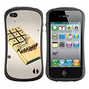 Hybrid Anti-Shock Bumper Case for Apple iPhone 4 4S / Gold Chocolate