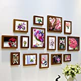 Home@Wall photo frame Living Room Photo Frame Wall ,Creative Wall Photo Frame Combination 15 Pcs/sets Collage,Family Picture Frame Wall DIY Photo Frame Sets ( Color : F , Size : 15frames/13575CM )