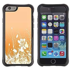 iKiki Tech / Estuche rígido - Floral Pattern Orange White Flowers Field - Apple iPhone 6 PLUS 5.5