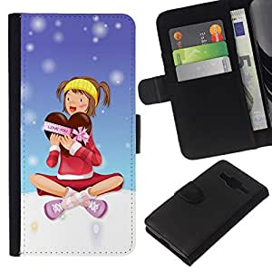 All Phone Most Case / Oferta Especial Cáscara Funda de cuero Monedero Cubierta de proteccion Caso / Wallet Case for Samsung Galaxy Core Prime // Christmas Girl