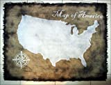 USA Map wall art made of worn out burlap, painted by hand | Map of America rustic wall decor | Rustic handmade United States map | Made to order, Brand New, Antique Look, Personalized gift
