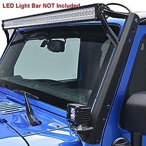"E-Autogrilles Windshield Mounting Brackets for 52"" LED Lights for 07-17 Jeep Wrangler JK (LED Bar NOT Included)"