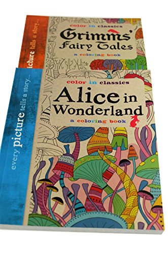 2 Adult Coloring Books ~Grimm's Fairy Tales & Alice In Wonderland + FREE 12 Pack of Colored Pencils (Pencil Sampler)