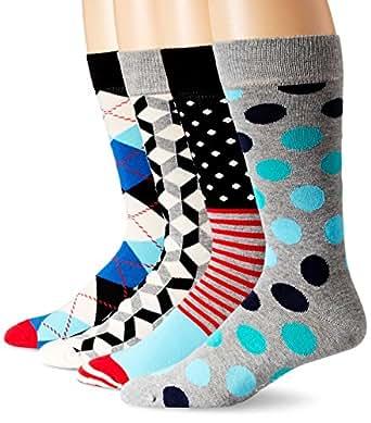 Happy Socks Men's 4 Pack Assorted Boxset, Black/Blue, Sock Size: 10-13/Shoe Size:9-11