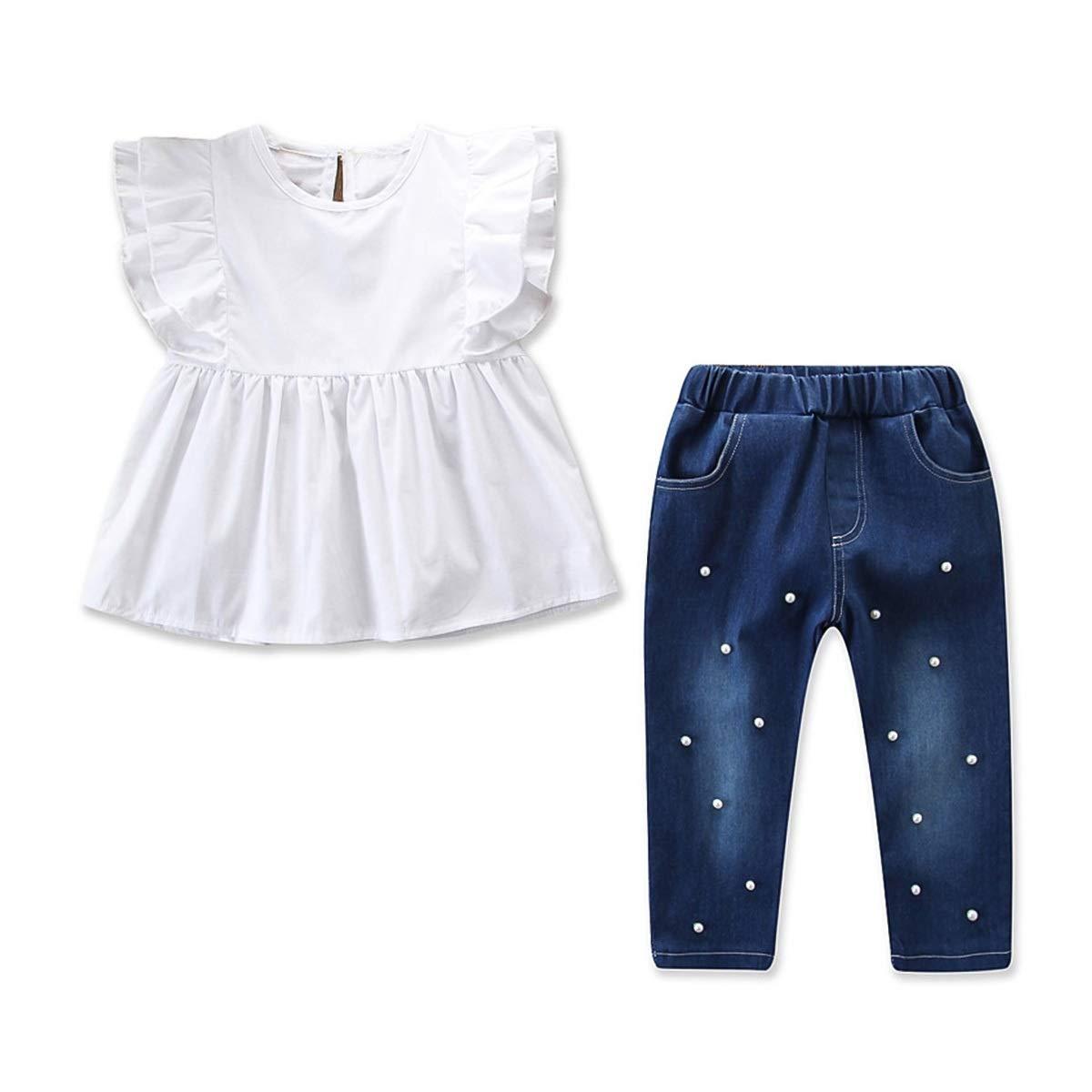 Beading Pants Outfits 2pcs Kids Girl Fashion Clothes Set Ruffles Shirt Top