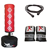 Kids/Junior Boxing FREE STANDING Punch bag Set Freestanding Bag + Gloves, Skipping Rope (Red)