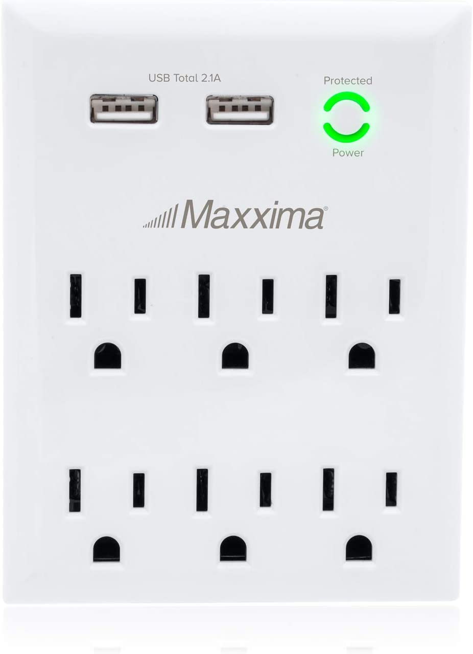 Maxxima 6 Outlet Dual USB Adaptor Plug Grounded 2.1A Port 1080 Joules Surge Protector, USB Charger