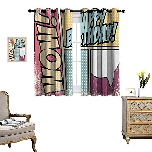 WinfreyDecor Birthday Thermal Insulating Blackout Curtain Comic Book Style Grunge Pop Art Effect Energy Boom Cartoon Style Retro Patterned Drape for Glass Door W63 x L45 Yellow Pink and Blue