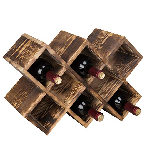 (MyGift Countertop Burnt Wood 8-Bottle Wine Rack)