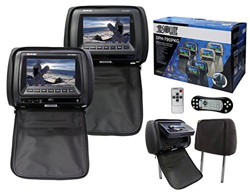 Absolute USA DPH790PKGBK Headrest Monitor & Multimedia Player TFT/LCD Monitor PAL/NTSC Video System, 7″, Black