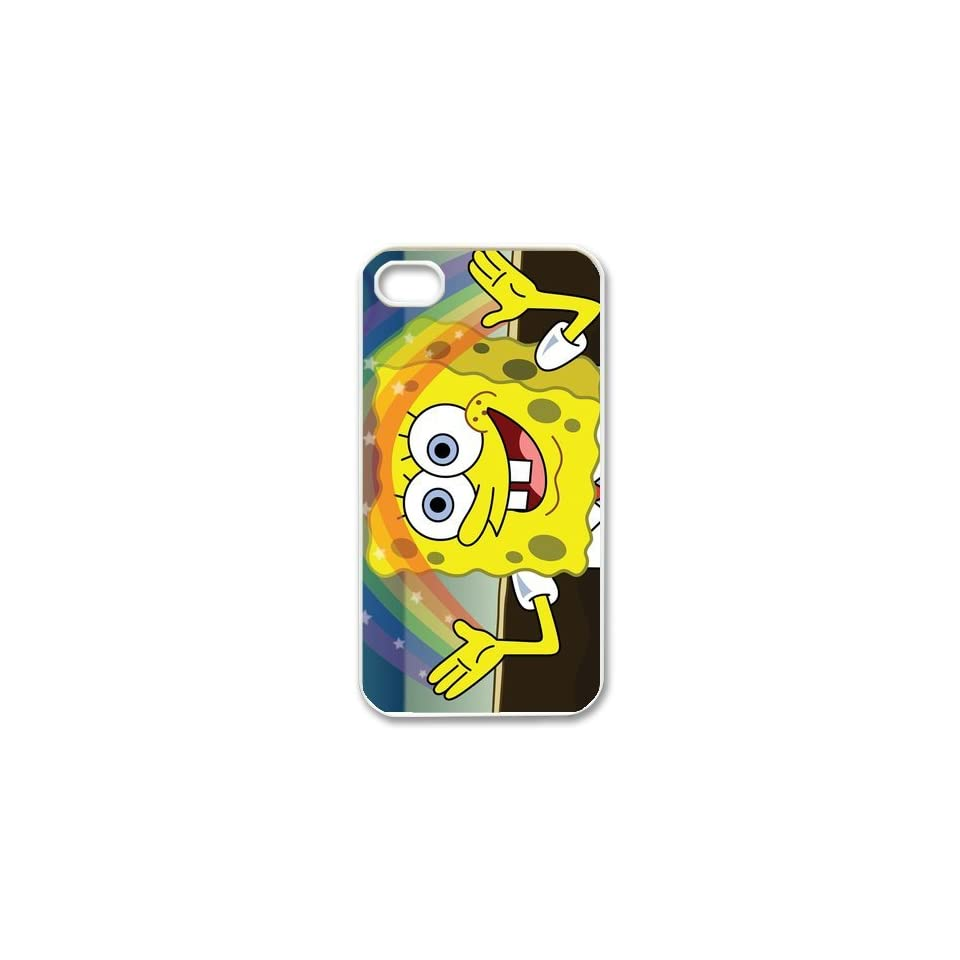 Personalized Cartoon SpongeBob SquarePants Protective Snap on Cover Case for iPhone 4/4S SS310