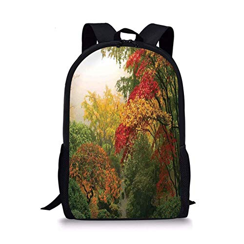 School Bags Country Home Decor,Maple Trees in the Fall at Portland Japanese Garden One Foggy Morning Scenery,Red Yellow Green for Boys&Girls Mens Sport Daypack
