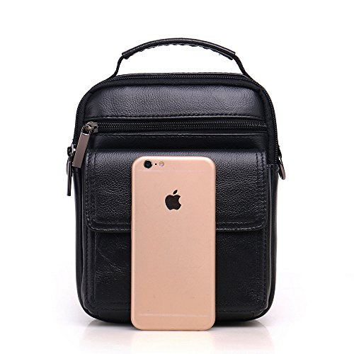 Meigardass Men's Genuine Leather Small Messenger Bag Shoulder Bag Briefcase Handbag (black) by Meigardass (Image #6)