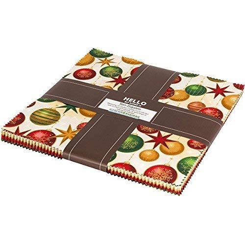Fabric Christmas Merry (Winter's Grandeur 6 Holiday Ten Square 42 10-inch Squares Layer Cake Robert Kaufman TEN-612-42)